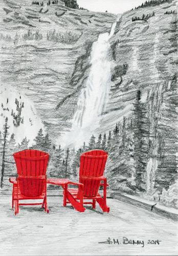 Red Chairs Takakkaw Falls