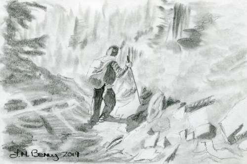 Sidestepping downhill sketch